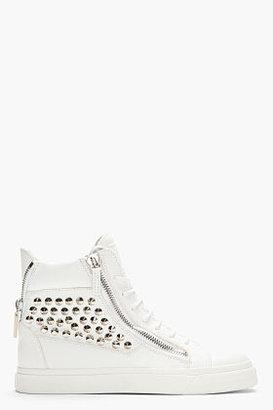 Giuseppe Zanotti White Studded Leather London Sneakers
