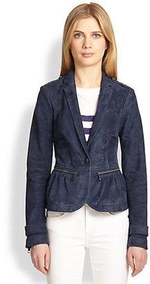 Burberry Bethersden Suede Peplum Jacket