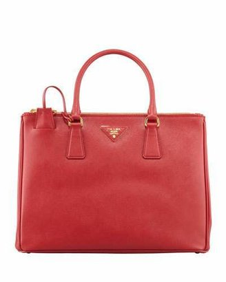 Prada Medium Saffiano Double-Zip Executive Tote Bag, Red (Fuoco) $2,450 thestylecure.com