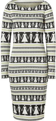 Suno Black-Multi Graphic Print Tailored Knit Dress