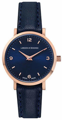 Larsson & Jennings Core Lugano 18K Rose Gold-Plated Blue Bovine Leather Strap Watch