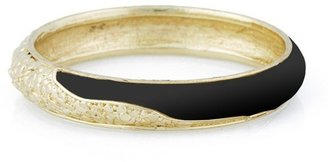 Belle Noel by Kim Kardashian Nugget and Leather Bangle In Black/Gold
