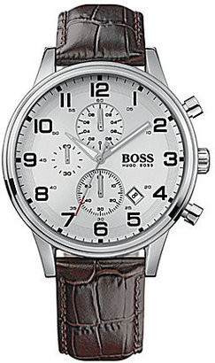 BOSS Hugo Boss BOSS Embossed Leather Strap Stainless Steel 3 Hand Chronograph Watch