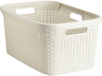 Container Store Rectangular Plastic Rattan Basket Ivory