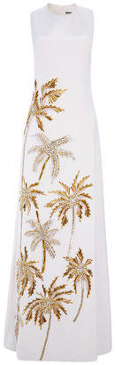 Fausto Puglisi Sleeveless Embroidered Long Cady Dress