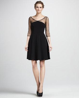 Nha Khanh Sheer-Sleeve Dress, Black