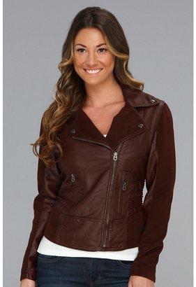 Members Only Asymmetrical PU Moto Jacket w/ Corduroy Panels (Bordeaux) - Apparel
