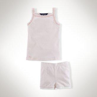 Laced-Ribbon Pajama Set