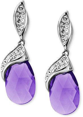 Kaleidoscope Sterling Silver Earrings, Purple and White Crystal Drop Earrings with Swarovski Elements (12 ct. t.w.)