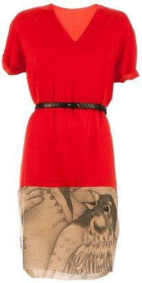 Milia M contrast bird print dress