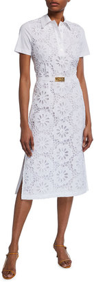 Tory Burch Lace Front Short-Sleeve Poplin Polo Dress