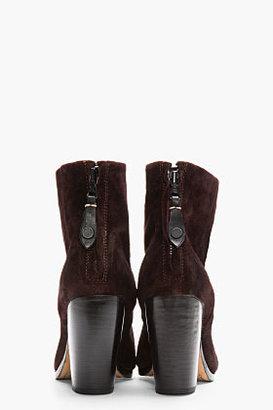 Rag and Bone RAG & BONE Dark Burgundy Brushed Suede Harley Newbury Boots