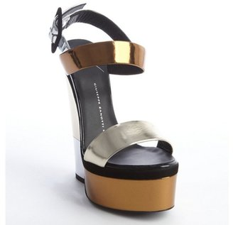 Giuseppe Zanotti gold and silver mirrored leather platform wedges