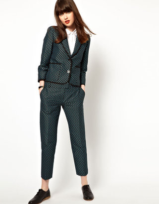 Jaeger Boutique by Boutique By Slim Leg Trousers In Polka Dot - Blue