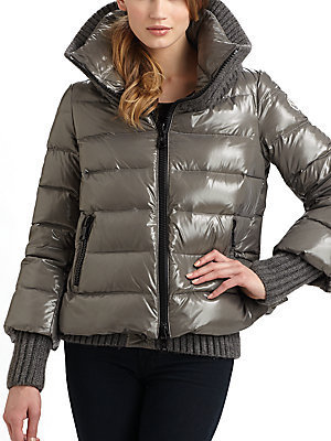 Moncler Knit-Collar Quilted Jacket