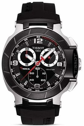 Tissot T-Race Men's Black Quartz Chronograph Rubber Strap Watch, 50mm