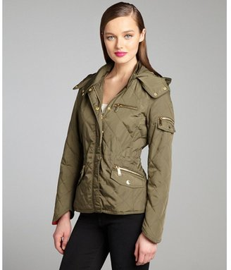 BCBGeneration army quilted knit sleeve drawstring hooded jacket