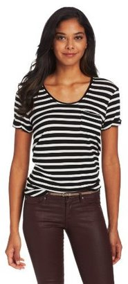 Vince Camuto Two by Women's Short-Sleeve Stripe Tee with Pocket