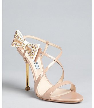 Prada nude patent leather bow detail strappy sandals