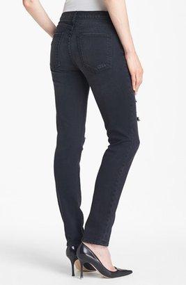 Current/Elliott 'The Ankle' Destroyed Skinny Jeans (Overdye Black Destroy)
