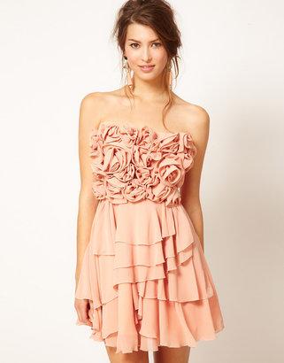 Rare Opulence Flower Embellished Bandeau Dress
