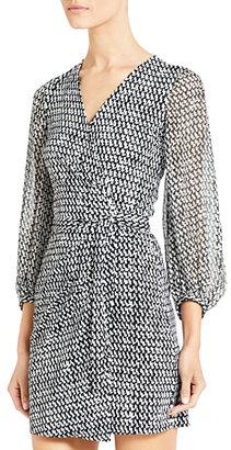 Diane von Furstenberg Sigourney Chiffon and Silk Jersey Wrap Dress In Tweed Dash Black