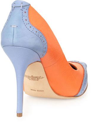 Rachel Roy Ana Two-Tone Pointed-Toe Pumps, Orange/Lilac