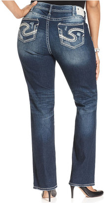 Silver Jeans Plus Size Aiko Destructed Baby Bootcut Jeans, Indigo Wash
