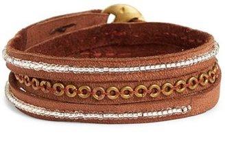 Me to We Artisans 'Tatu' Beaded Leather Wrap Bracelet