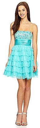 Masquerade Strapless Jeweled Tiered Dress