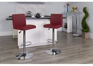 Lancaster Home 2 Pack Contemporary Adjustable Height Barstool with Panel Back and Chrome Base