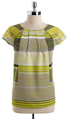 Adrianna Papell Striped Cap-Sleeved Blouse