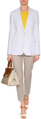 Diane von Furstenberg White/Brown/Platinum Leather Sandals with Clear Heel