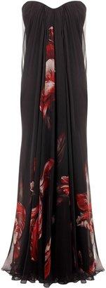 Alexander McQueen Tulip Silk Chiffon Bustier Dress