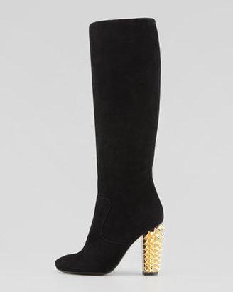 Fendi Suede Stud-Heel Knee Boot, Black