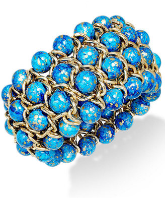 Style&Co. Bracelet, Gold-Tone Blue Bead Four-Row Stretch Bracelet