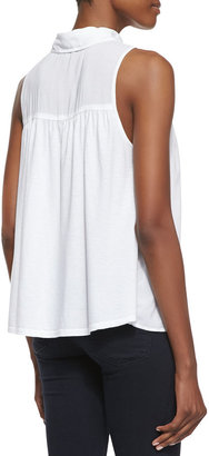 Splendid Button-Front Combo Tank Top, White