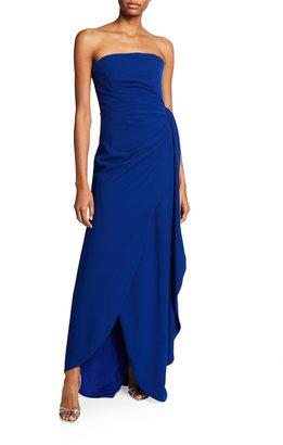Rene Ruiz Collection Strapless Faux-Wrap Column Gown