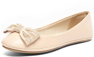 Dorothy Perkins Nude stud bow ballet shoes