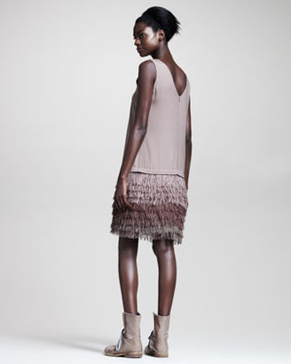 Brunello Cucinelli Fringe-Skirt Crepe Dress
