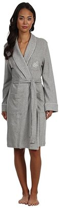 Lauren Ralph Lauren Essentials Quilted Collar and Cuff Robe (Grey Heather) Women's Robe