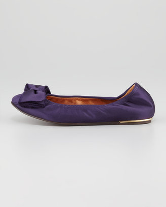 Lanvin Satin Bow-Toe Ballerina Flat, Royal