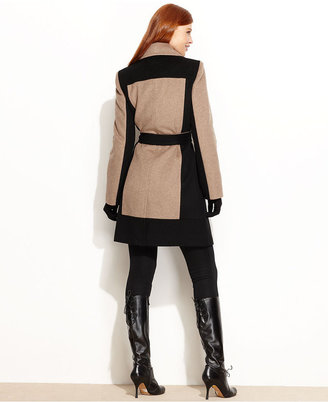 Calvin Klein Coat, Colorblock Wool-Blend Belted