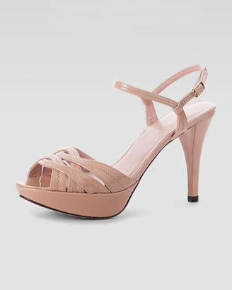 Stuart Weitzman Baffle Patent Platform Sandal, Nude