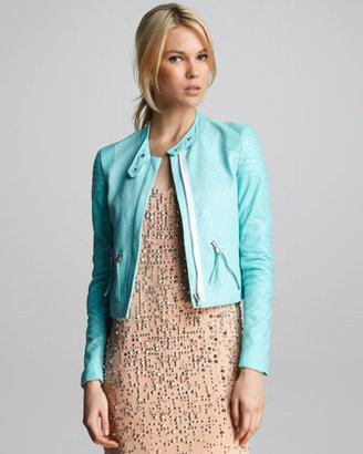 Rebecca Taylor Snake-Embossed Leather Jacket