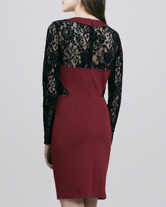 ALICE by Temperley Solitaire Two-Tone Lace/Jersey Dress