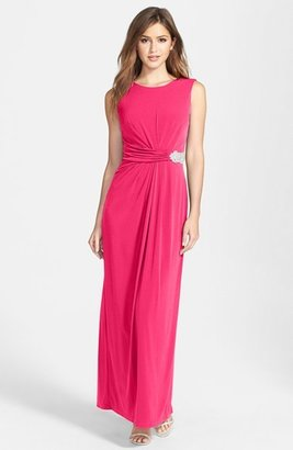 Women's Ellen Tracy Embellished Waist Drape Back Jersey Gown $168 thestylecure.com