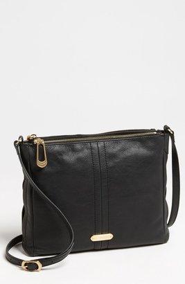 T Tahari Pleated Double Zip Leather Crossbody Bag