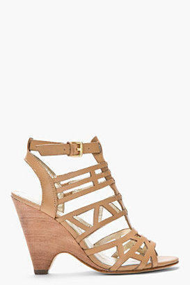 Sigerson Morrison BELLE Beige leather stacked wedge cage sandals