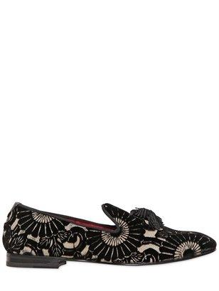Max Verre 20mm Flower Velvet Loafers